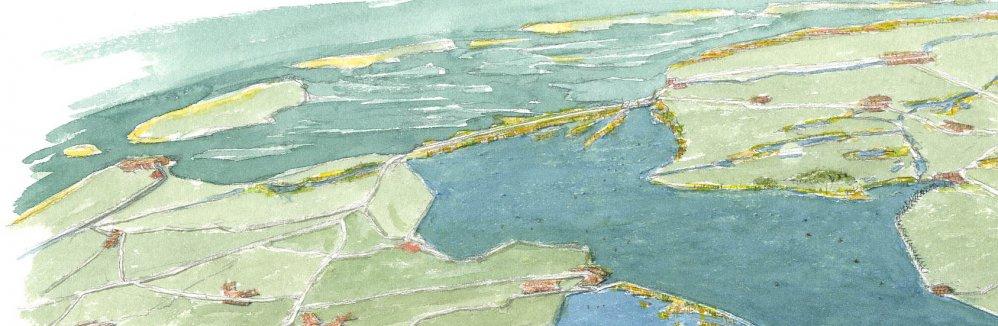 Afsluitdijk en IJsselmeer. Tekening: Jeroen Helmer